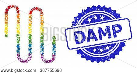 Bright Colorful Vector Pipe Mosaic For Lgbt, And Damp Rubber Rosette Stamp. Blue Stamp Has Damp Tag