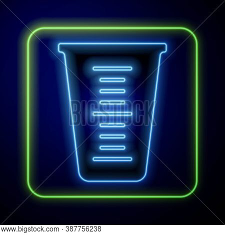 Glowing Neon Measuring Cup To Measure Dry And Liquid Food Icon Isolated On Blue Background. Plastic