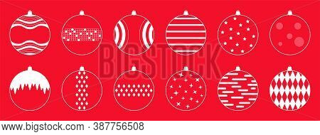 Concept For New Year's Toys, New Year's Holiday. Vector Illustration, Set Of Minimalistic Linear Ico