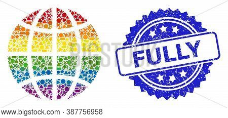 Bright Colorful Vector Globe Collage For Lgbt, And Fully Unclean Rosette Stamp Seal. Blue Stamp Seal