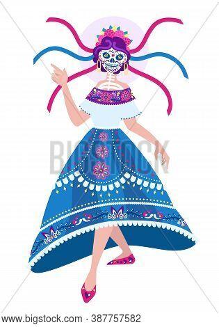 Dancing Calavera Catrina - Vector Full Body Portrait. Character For Dia De Los Muertos Poster, Greet