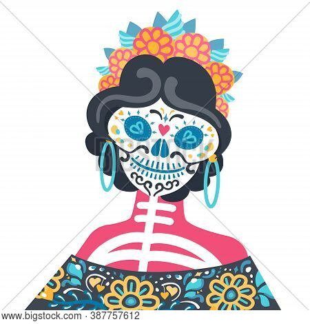 Vector Shoulder Portrait Of Calavera Catrina - Mexican Symbol Of Day Of The Dead. Dia De Los Muertos