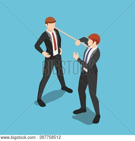 Flat 3d Isometric Liar Businessman With Long Nose Speaking Lies To Partner. Dishonest Behavior And B