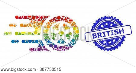 Spectrum Colorful Vector Tire Wheel Collage For Lgbt, And British Textured Rosette Stamp Seal. Blue