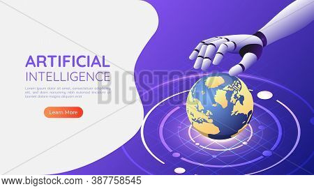 3d Isometric Web Banner Ai Robotic Hand Control The World. Artificial Intelligence Technology Change