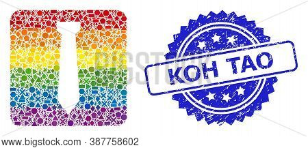 Bright Vibrant Vector Tie Mosaic For Lgbt, And Koh Tao Textured Rosette Stamp Seal. Blue Stamp Seal