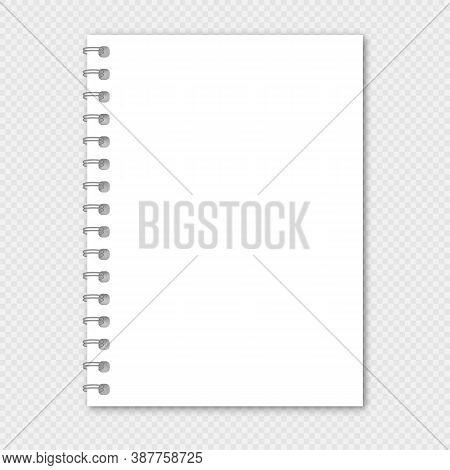 Notebook Vector Mockup. Realistic Spiral Notebook Mockup, Copybook Blank Cover.