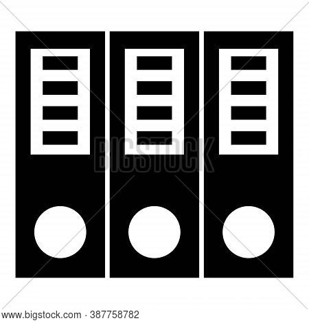 Binders Icon In Line Style. Office Dossiers Folders Symbol. Collection Of Files, Documents In Ring B