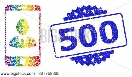 Rainbow Colorful Vector Mobile User Profile Mosaic For Lgbt, And 500 Corroded Rosette Stamp Seal. Bl