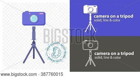 Camera On Tripod Flat Icon. Line Icon