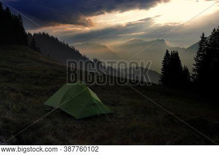 Tent On An Alpine Meadow During A Trekking Tour (high Alpine Trekking Trail) In Obwalden. Obwaldner