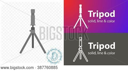 Camera On Tripod Flat Icon. Line And Solid Icon