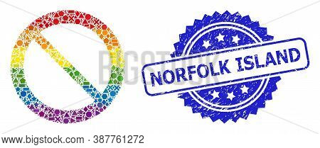 Rainbow Colorful Vector Forbidden Mosaic For Lgbt, And Norfolk Island Corroded Rosette Stamp Seal. B