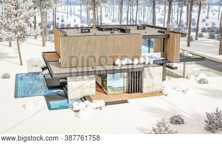 3D Rendering Of Modern House With Wood Plank Facade In Winter Day
