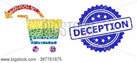 Rainbow Colorful Vector Refund Shopping Order Collage For Lgbt, And Deception Corroded Rosette Seal