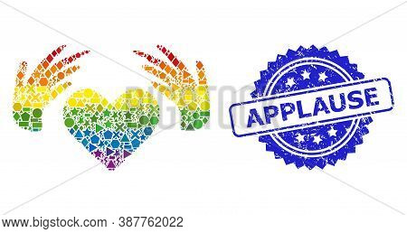 Rainbow Vibrant Vector Handmade Love Mosaic For Lgbt, And Applause Corroded Rosette Seal Print. Blue