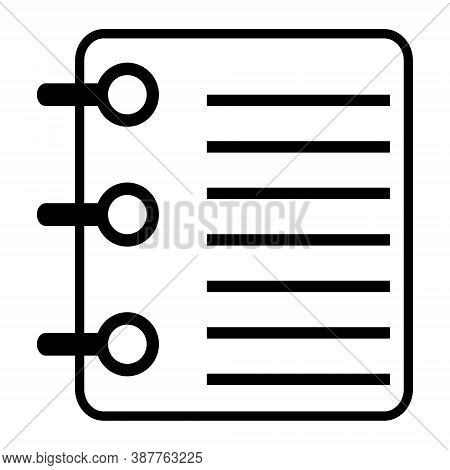 Notebook Icon. Diary Symbol. Writing Pad Illustration. Taking Notes Concept.