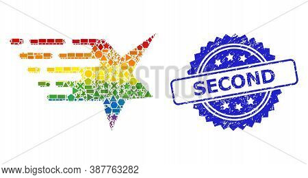 Spectrum Vibrant Vector Star Collage For Lgbt, And Second Rubber Rosette Stamp. Blue Stamp Includes