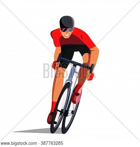 The Cyclist At The Finish Line Is Fighting For The Victory. Final Sprint Front View. The Athlete On