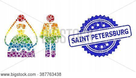 Bright Colored Vector Marriage Persons Mosaic For Lgbt, And Saint Petersburg Grunge Rosette Stamp. B