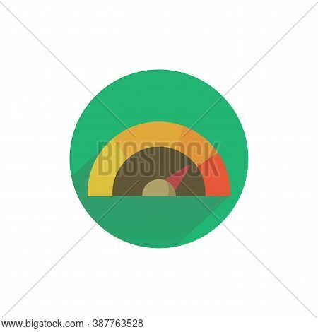 Tachometer Colorful Flat Icon With Long Shadow. Tachometer Flat Icon