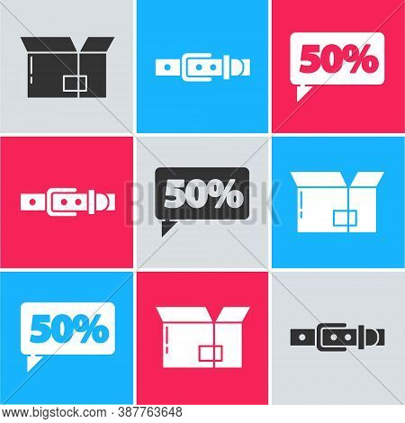 Set Carton Cardboard Box, Leather Belt And Fifty Discount Percent Tag Icon. Vector