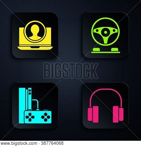 Set Headphones, Create Account Screen, Game Console With Joystick And Racing Simulator Cockpit. Blac