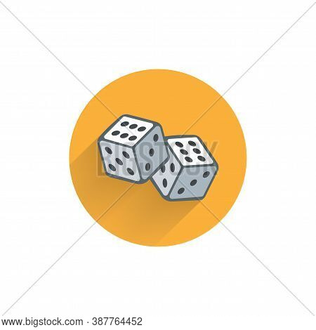 Dice Cubes Colorful Flat Icon With Long Shadow. Dice Flat Icon