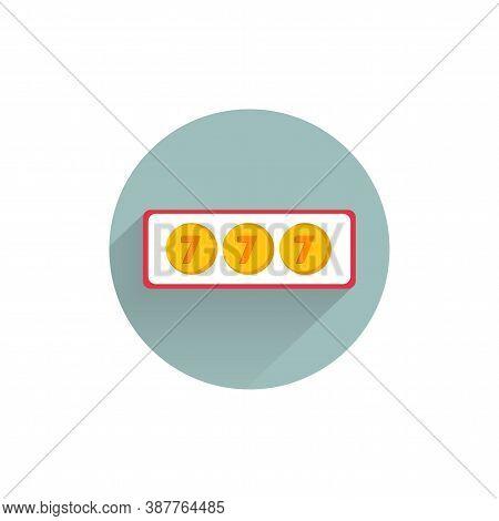 Jackpot Casino Slot Colorful Flat Icon With Long Shadow. Jackpot 777 Flat Icon