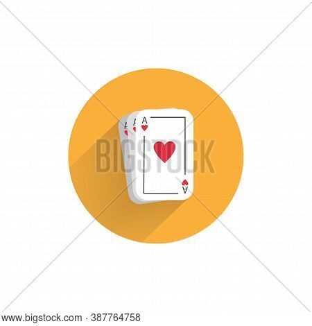 Playing Cards Colorful Flat Icon With Long Shadow. Playing Cards Flat Icon