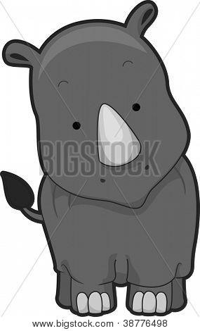 Illustration of a Cute Rhinoceros with its Head Slightly Tilted Sideways
