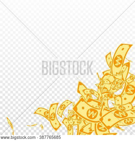 Korean Won Notes Falling. Messy Won Bills On Transparent Background. Korea Money. Dazzling Vector Il