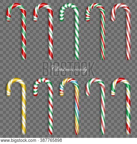 Christmas Candy Cane. Vector 3d Sweet Traditional Gift. Holiday Xmax Decoration Design Elements. Vec