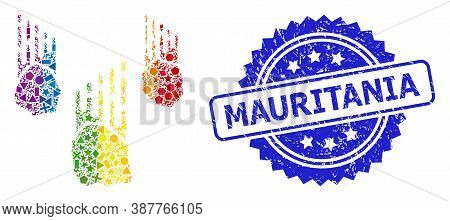 Rainbow Colorful Vector Falling Rocks Mosaic For Lgbt, And Mauritania Corroded Rosette Seal Print. B
