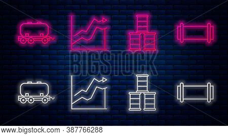 Set Line Oil Price Increase, Barrel Oil, Oil Railway Cistern And Industry Pipe. Glowing Neon Icon On