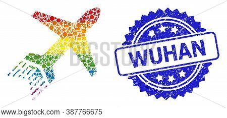 Bright Colored Vector Jet Liner Collage For Lgbt, And Wuhan Grunge Rosette Seal. Blue Seal Contains