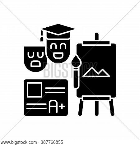 Creative Certification Exam Black Glyph Icon. Art And Theatrical Education Degree. Drawing Skills. S