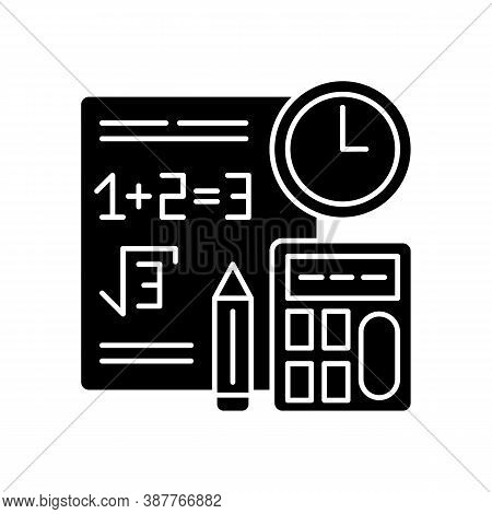 Computational Exam Black Glyph Icon. Math Testing. Time Task. Calculations Answer. Plus, Minus, Math