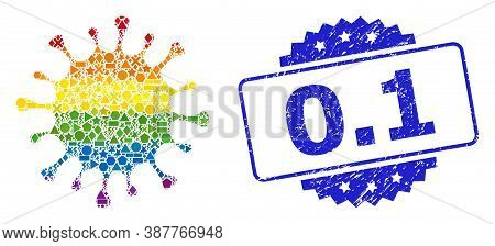 Rainbow Colorful Vector Microbe Collage For Lgbt, And 0.1 Corroded Rosette Seal. Blue Stamp Seal Inc