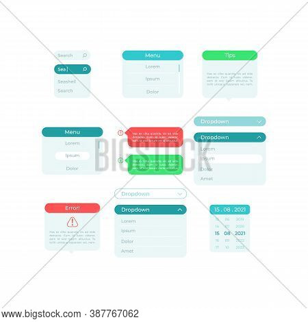 Panels Ui Elements Kit. Search Fields. Pick Option. Settings Isolated Vector Icon, Bar And Dashboard