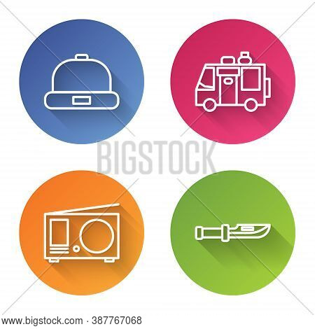 Set Line Beanie Hat, Rv Camping Trailer, Radio With Antenna And Camping Knife. Color Circle Button.