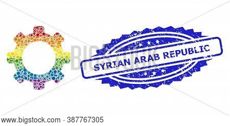 Bright Vibrant Vector Gear Collage For Lgbt, And Syrian Arab Republic Textured Rosette Stamp Seal. B