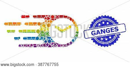 Rainbow Colorful Vector Speed Time Mosaic For Lgbt, And Ganges Rubber Rosette Stamp. Blue Stamp Incl