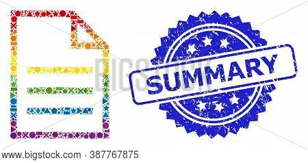 Rainbow Colorful Vector Text Page Collage For Lgbt, And Summary Scratched Rosette Stamp Seal. Blue S