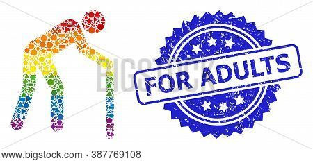 Bright Colored Vector Retired Person Mosaic For Lgbt, And For Adults Grunge Rosette Stamp Seal. Blue