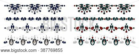 Christmas Frieze, Border. Santa Claus And Garland Of Angels. Blue And Grey. Green And Red. Decorativ