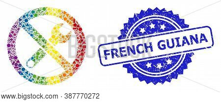 Spectrum Colorful Vector Forbidden Repair Mosaic For Lgbt, And French Guiana Dirty Rosette Seal Prin