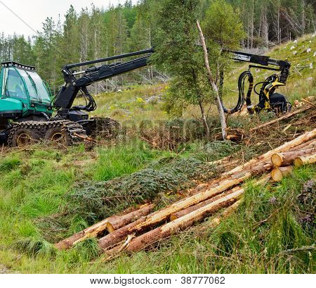 Heavy forestry vehicle harvester employed in cut-to-length logging operations