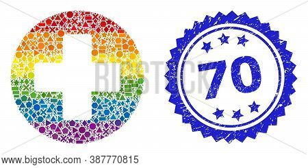 Bright Colorful Vector Medical Cross Collage For Lgbt, And 70 Dirty Rosette Seal Imitation. Blue Sea
