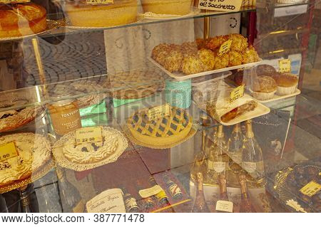 Showcase With Cakes In Italy